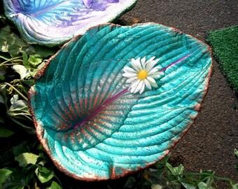 "Perfect fairy garden decor / birdbath made from a hosta (#6380, Hosta, 10x7h"") concrete leaf birdbath stands on pole in garden or in pots"