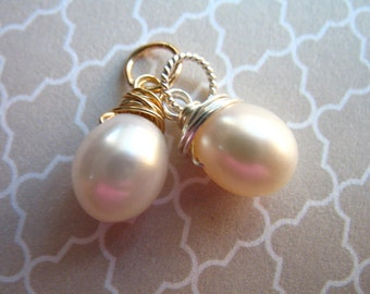 Shop Sale.. PEARL Charm Pendant, White Drop Pearl, June birthstone bridal bridesmaids gifts ...
