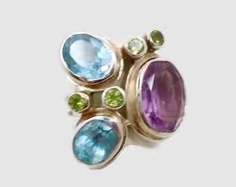 Amethyst, Blue Topaz Ring, Sterling Silver Ring, Peridot, Statement Ring, Gemstone, Multi Stones, Purple  Blue Green, Big Stones, Faceted