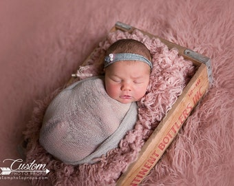 Gray Stretch Wrap Newborn Photography Props, SaRdine DrEam Knit Newborn Baby Wrap Photo Prop, Fabric, Baby Photography Props, Baby Props