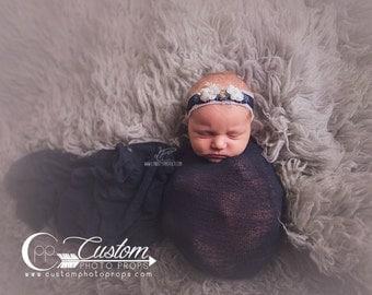 Newborn Photo Props, Breeana Blue Floral Headband, Baby Girl, Ivory Flowers, Baby Photo Props, Handmade, Flowers, Lace, Custom Photo Props