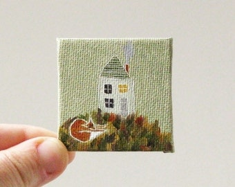 fox house  / MINIATURE painting on canvas panel