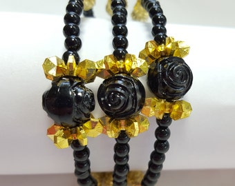 Roses black and gold memory wire bracelet, beaded bracelet, young girls