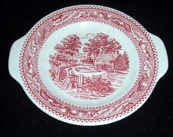 Vintage  MEMORY LANE Pink 8 1/2 Round Gravy Boat Underplate/Relish Plate~ROYAL China