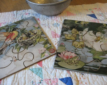 Two Beautiful Vintage Shabby Silo Puzzles Robin and Baby Bird Duck and Ducklings