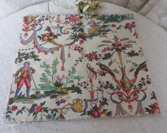 French Vintage Toile de Jouy Fabric / Pretty Colourful Old French Cloth / Vintage Sewing Project / Country French Home / Cushions Patchwork