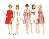 Mod Pleated A Line Dress Pattern, Butterick 4485, 1960s Vintage Dress Sewing Pattern, Bust 34, Uncut