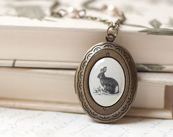 Woodland Bunny locket necklace - Animals jewelry - Romantic gift jewelry - Photo locket - Bunny necklace - Antique locket necklace  (L008)