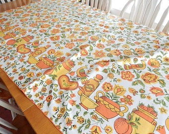 large tablecloth - rectangular - vintage - home decor - table linens - colorful - yellow orange tablecloth - vintage linens