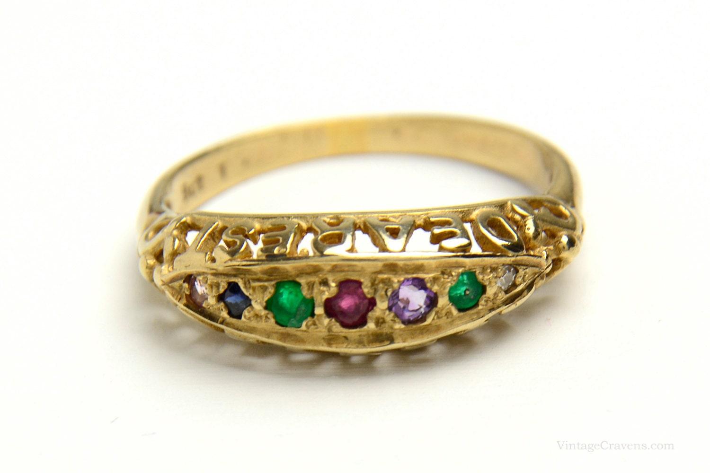 antique engagement ring dearest ring 9k gold