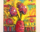 FLORAL ACRYLIC PAINTING, gift idea, bathroom decor, flowers still life, bright colors, fun, 8 x 10