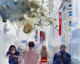 Original Watercolor Painting -  Hot Summer Days - 41 STREET New York City (Bryant Park)  - NYC Art