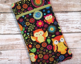Cute Owl iPhone 7 Case, iPhone 6 Case, iPhone 6 Plus, iPhone Wallet, Samsung Galaxy S6, Galaxy S7 Case, Google Pixel, Colorful Owl Fabric
