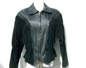 50% Off Sale 80s Black Fringed Jacket size  Medium Large Suede Leather Cropped Jacket