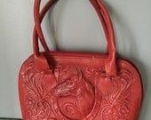 Vintage HORSE red leather tooled hand bag