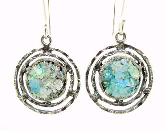 Round dangle earrings with roman glass set in sterling silver