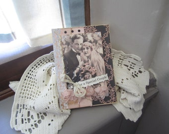 Vintage Victorian Wedding Card - Old Fashioned Couple Card