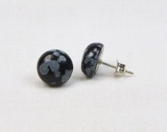 Snowflake Obsidian Sterling Silver Earrings - 10MM - Stud - Genuine Gemstone- Cabochon Earrings - Gift
