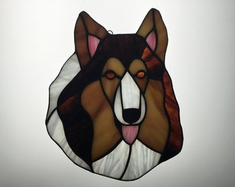 Collie Suncatcher in Stained Glass