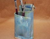 Pottery Toothbrush Holder, Ceramic Makeup Brush Holder, Pen & Pencil Holder, Pencil Crayons For Adult Coloring Book, Handmade Bathroom Decor