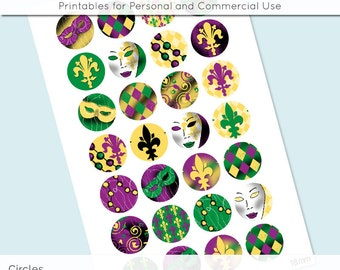 Digital Collage Sheet Mardi Gras Carnival 18mm 16mm 14mm 12mm Circle Round on 4x6 8.5x11 Sheets for Earrings Pendants Cuff Link Jewelry