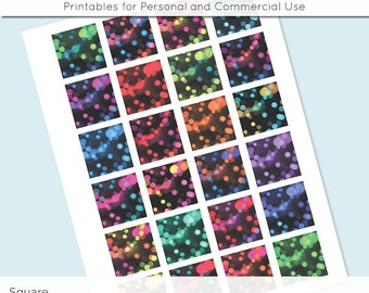 Bokeh 1x1 Inch Squares and 1.5 Inch Squares Digital Collage Sheet for Glass Resin Pendants Charms JPG Q0008 S0008  Inch