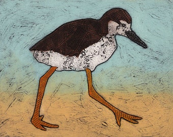 Baby Stilt Original Hand Pulled Collograph Print - Stepping Out at the Beach 7