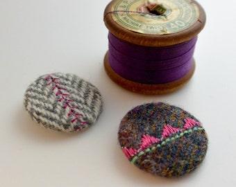Button fabric badges, scottish badges, tweed badge