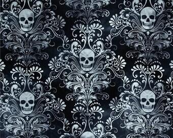 ON SALE - Black Charcoal Skulls Damask  - Pleated Bag, Adjustable Strap, Purse, Shoulder Bag, Hobo, Lined, Outside Pockets