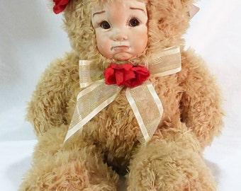 Vintage porcelain plush brown bear kid face petunia sandra william creations