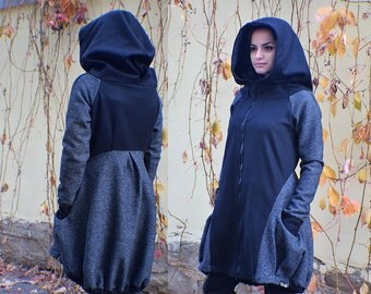 Gray Coat, Fall Coat, Hooded Coat, Retro Coat, Asymmetrical Coat, Long Coat, Wool Jacket, Wool Coat, Steampunk Clothing, Winter Coat