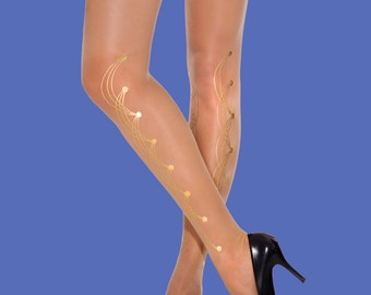 Bridal accessory sheer nude tights, pins model available in S-M, L-XL, XXXL, gift for her, gift for mom