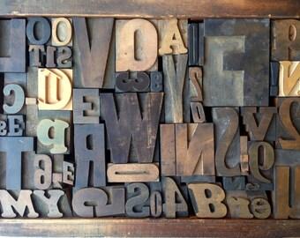 Antique Letterpress Printers WOOD TYPE Mix 54 Pieces