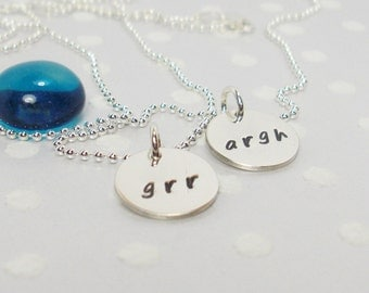 Grr Argh Monster - Nerd Geek - Horror Fantasy Sci-Fi - Silver Best Friend Necklace Set - Custom Charm Necklace - Hand Stamped Necklace