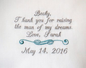 Personalized mother in law from Bride embroidered wedding ladie's handkerchief thank you present gift envelope