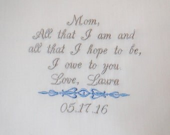 Personalized  for the mother of the from Bride embroidered wedding ladie's handkerchief thank you present gift envelope