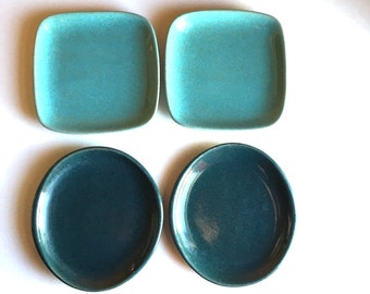 Set of 4 Glidden Pottery Canape or Snack Plates - Styles 435 & 35 - 1950s Glidden - Turquoise Teal Green - Picnic Set - Summer House Cool