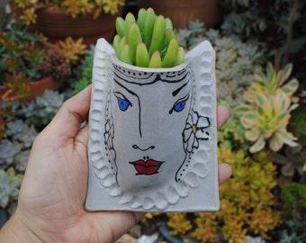 illustrated ceramic wall planter garden pocket
