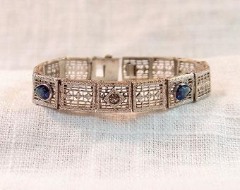 Art Deco Silver Filigree and Blue Sapphire Bracelet
