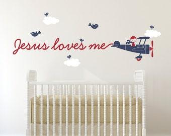 Jesus Loves Me Wall Decal Boy or Girl Airplane Christian Baby Nursery Church Ministry Sunday School Art Classroom Room Decor