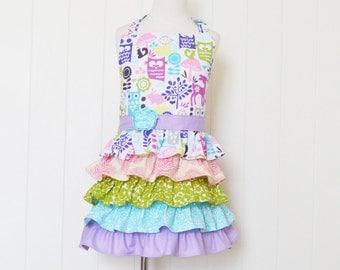 Forest Life--- little girl full ruffle apron