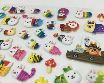 Cute Puffy Japanese Stickers - Adorable Bunnies in a Disguises