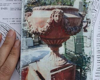 Garden Container, Decorative Urn, Garden Art, Terra Cotta, Female Bust, Photography, 4 x 6, Original Art, Miniature
