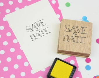 Handmade Save The Date Stamp - Wooden Block