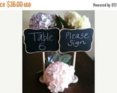 On SALE- Fancy Large Chalkboard Table Stands with Chalkboard Label - Hostess Gift, Wedding Chalkboards, Rustic