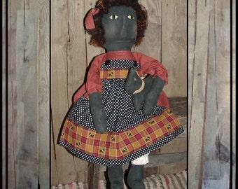 Primitive folk art black cloth doll polka dot apron soft sculpted rag doll wool hair scottie dog hand embroidered eyes HAFAIR ofg faap