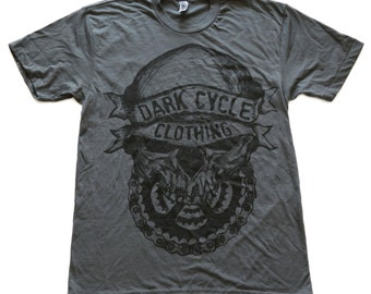 Dark Cycle Skull + Gears Logo Tee - american apparel T-shirt