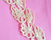 Vintage Hand Crocheted Flat Ecru Lace