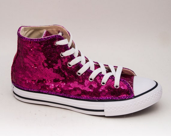 youth size fuchsia pink sequin converse canvas hi tops