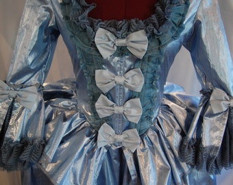 Metalic blue silk taffeta Marie Antoinette Victorian inspired rococo costume dress